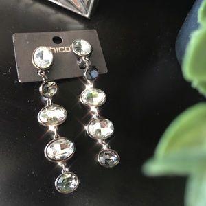 Chicos Drop Rhinestone Clip Earrings